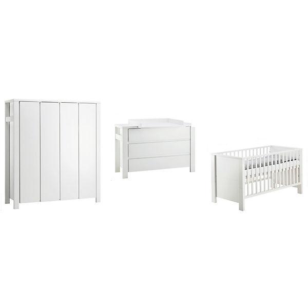 Komplett Kinderzimmer Milano Weiß, 3-tlg.(Kombi-Kinderbett