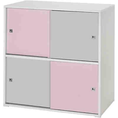 Kommode Clic, rosa/grau, 4-türig, Schardt