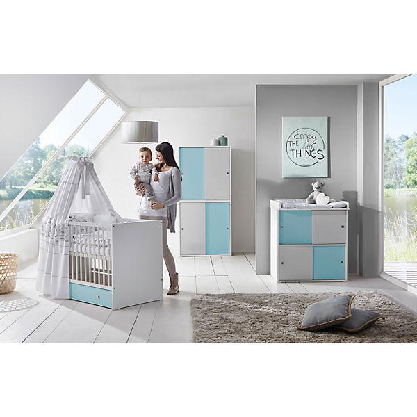 Komplett Kinderzimmer Clic, 3-tlg.(Kombi-Kinderbett 70x140, Umbauseiten,  Wickelkommode mit Wickelaufsatz und Kleiderschrank 4-trg.), Buche  teilmassiv, ...