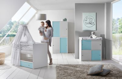 Komplett Kinderzimmer Clic, 3 Tlg.(Kombi Kinderbett 70x140, Umbauseiten, ...