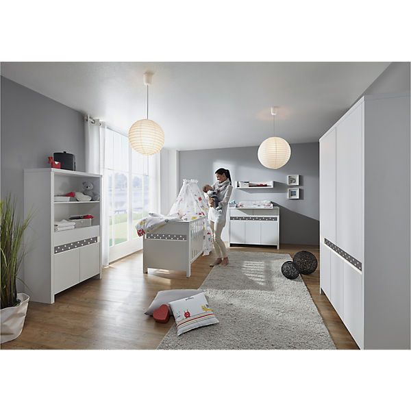 komplett kinderzimmer planet star 3 tlg kombi kinderbett 70x140 umbauseiten wickelkommode. Black Bedroom Furniture Sets. Home Design Ideas
