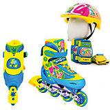 Набор: ролики раздвижные, набор защиты, шлем, Фиксики, Next