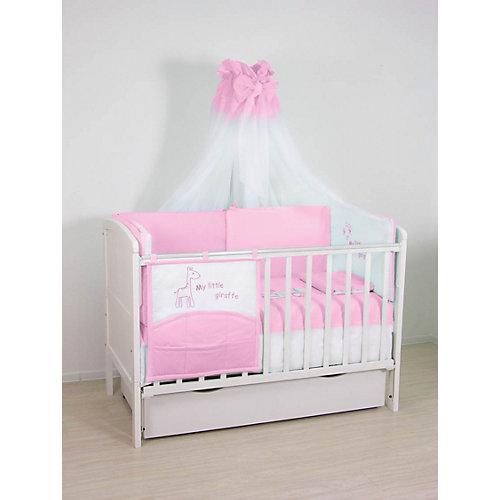 Комплект в кроватку 7 предметов Fairy, Жирафик, розовый от Fairy
