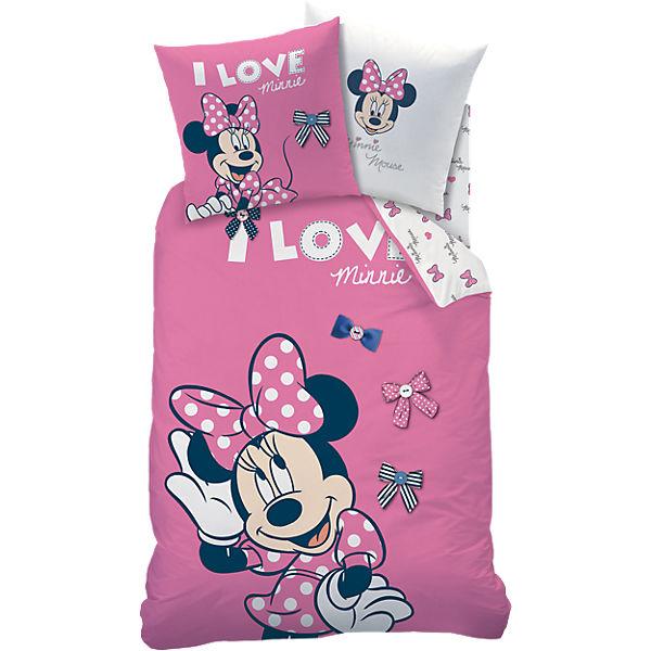 Wende Kinderbettwäsche Disney Minnie Mouse Biber 135 X 200 Cm