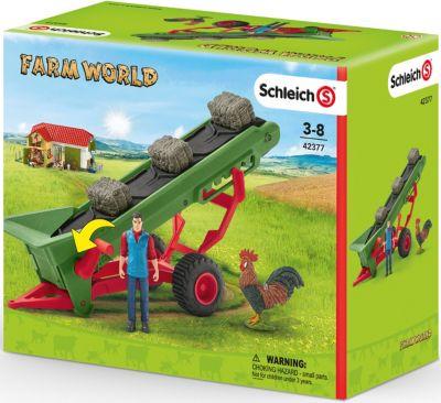 Spielset Heuförderband mit BauerSchleich 42377Bauernhof Spielzeug ab 3 J. Kleinkindspielzeug