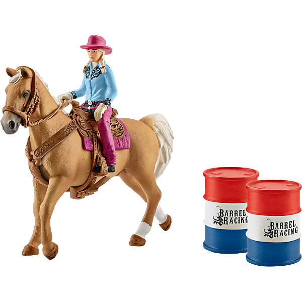 SCHLEICH 41417 Barrel racing mit Cowgirl