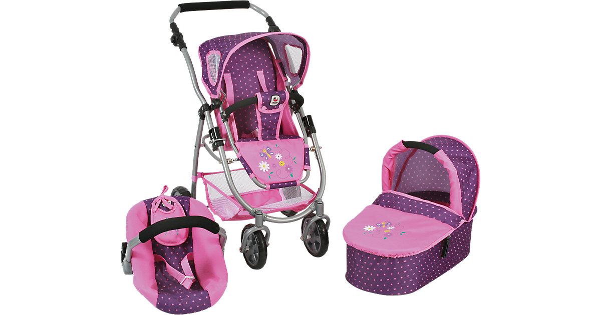 Puppenwagen Kombi Emotion 3 in 1 All In, Dots Purple Pink