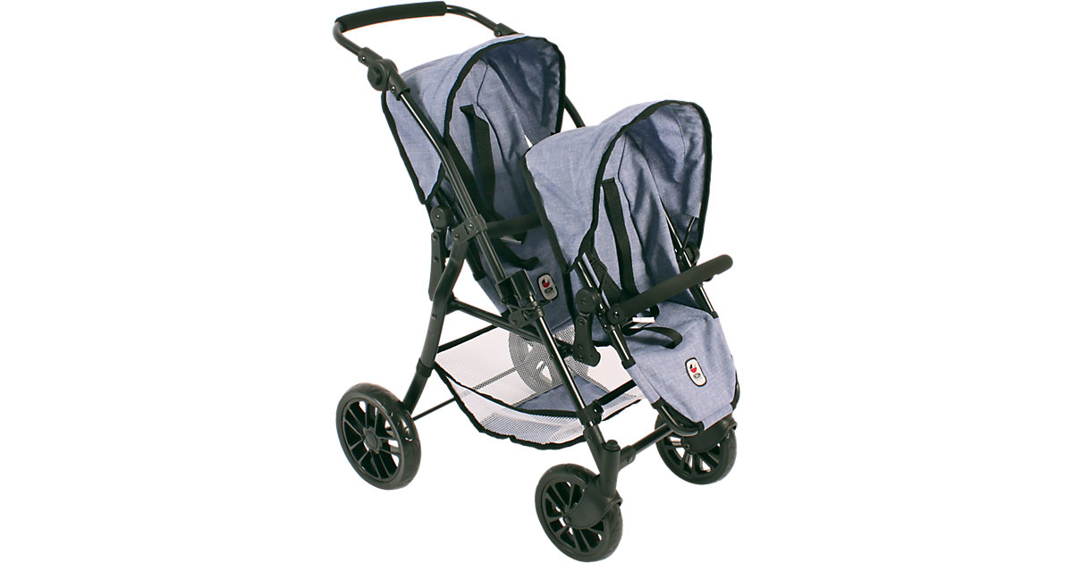 BAYER CHIC 2000 · Tandem-Buggy Twinny Jeans Blue Puppenwagen
