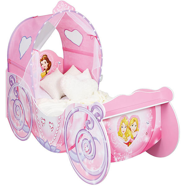 kinderbett kutsche mit leuchtendem bogen princess rosa 70 x 140 cm disney princess mytoys. Black Bedroom Furniture Sets. Home Design Ideas