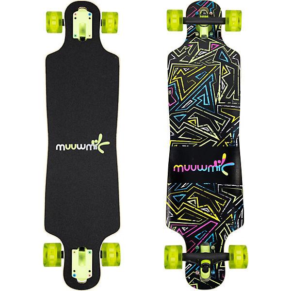 Longboard ABEC 7 Neon mit Leuchtrollen, No Rules   myToys