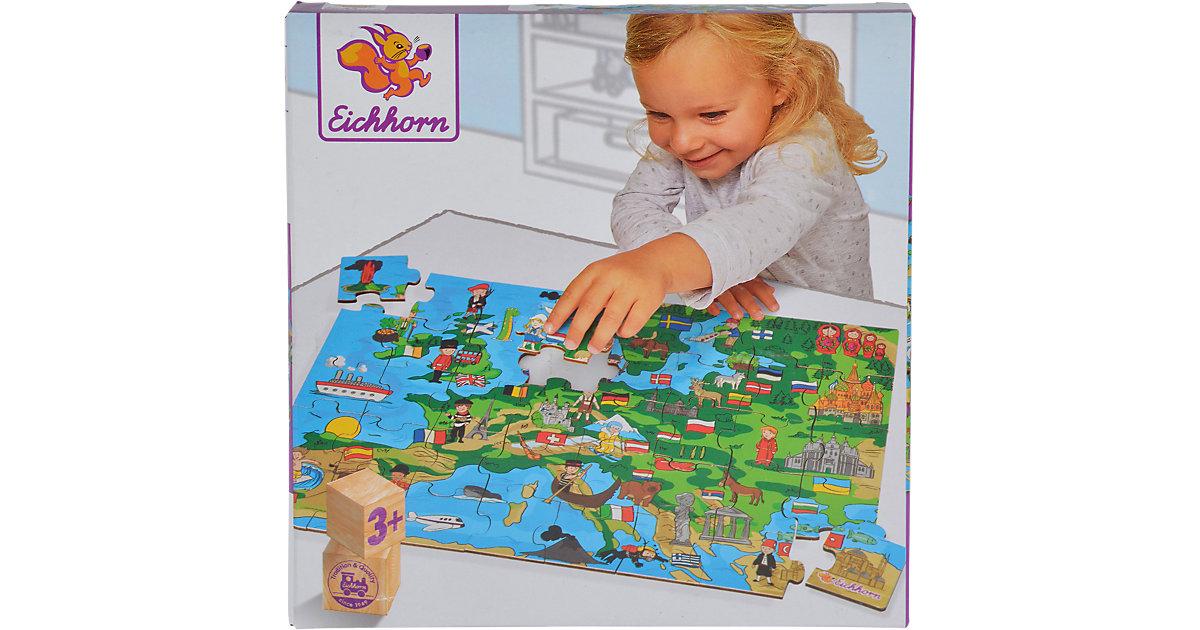 Holzpuzzle 40 Teile - Europakarte