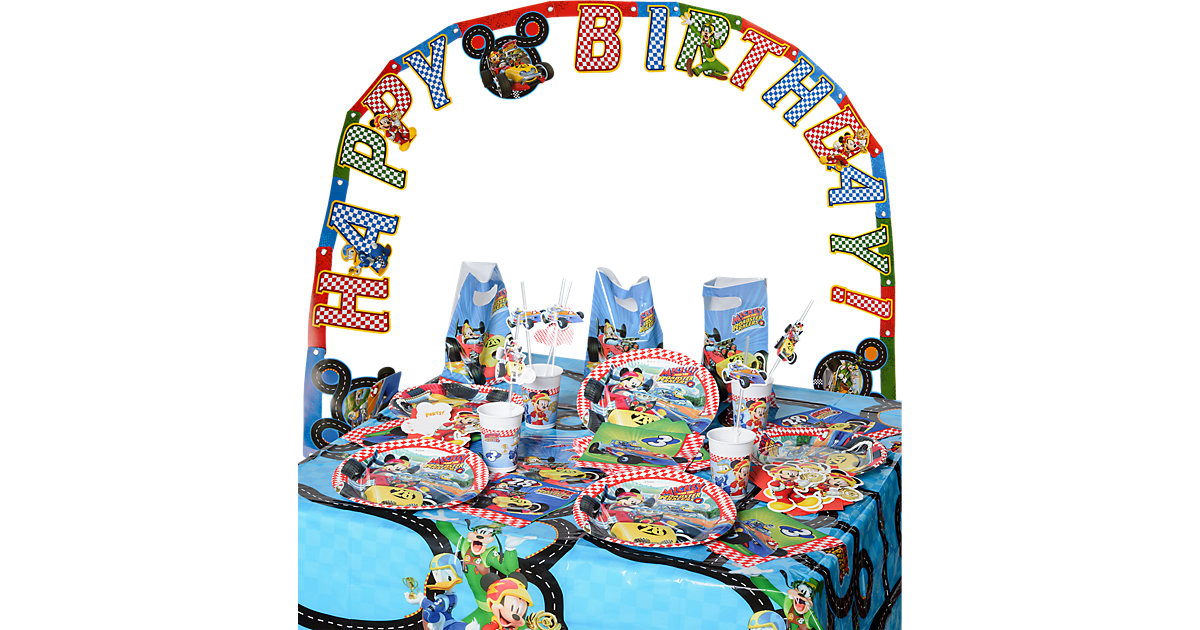 Partyset Mickey Roadster, 56-tlg.