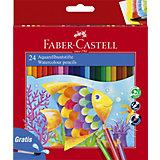 Карандаши акварельные Faber-Castell, 24 цвета + кисть