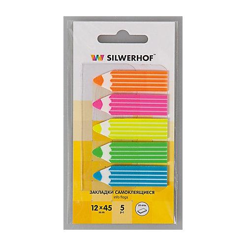 """Silwerhof Закладки самоклеящиеся пластиковые """"Карандаш"""", 5 цветов. от Silwerhof"""