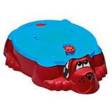Песочница-бассейн - Собачка с крышкой (красный, голубой)