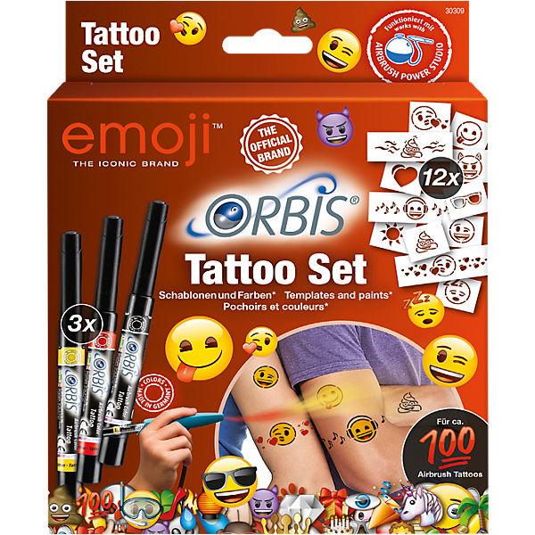 Orbis 30309 Airbrush Tattoo Set Emoji Emoji Mytoys