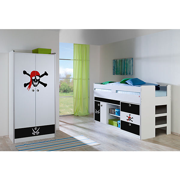 hochbett bonny pirat wei schwarz 90 x 200 cm relita mytoys. Black Bedroom Furniture Sets. Home Design Ideas