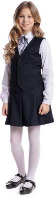 Комплект текстильный для девочки: юбка, жилет S'cool - темно-синий