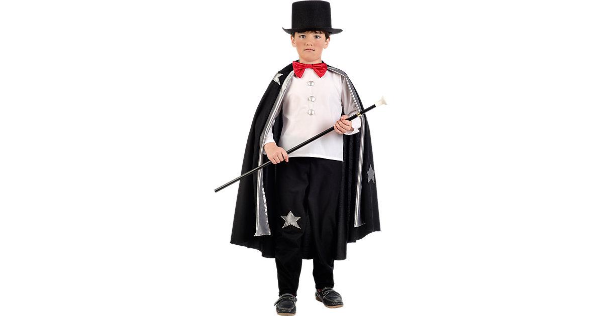 Kostüm Magier, 3-tlg. schwarz/weiß Gr. 116/128 Jungen Kinder