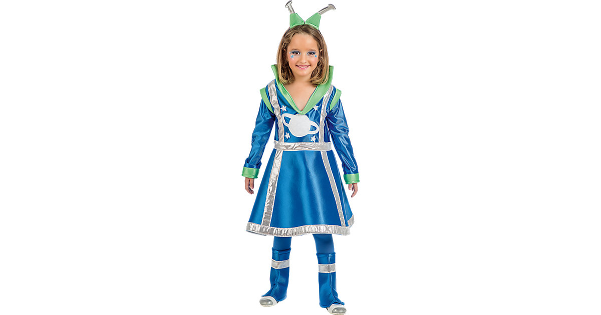 Kostüm Weltall Mond Mädchen, 3-tlg. blau Gr. 152/158 Mädchen Kinder