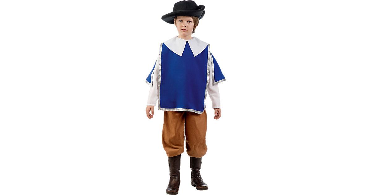 Kostüm Musketier, 3-tlg. blau/braun Gr. 152/158 Jungen Kinder