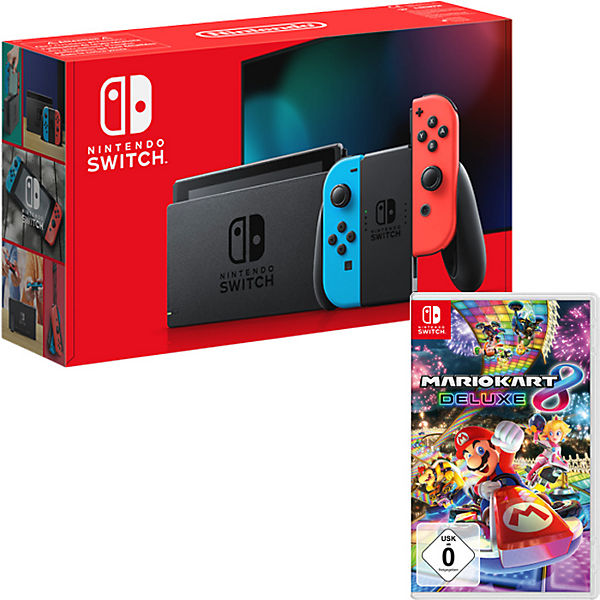 nintendo switch neon rot neon blau inkl mario kart 8 deluxe super mario mytoys. Black Bedroom Furniture Sets. Home Design Ideas