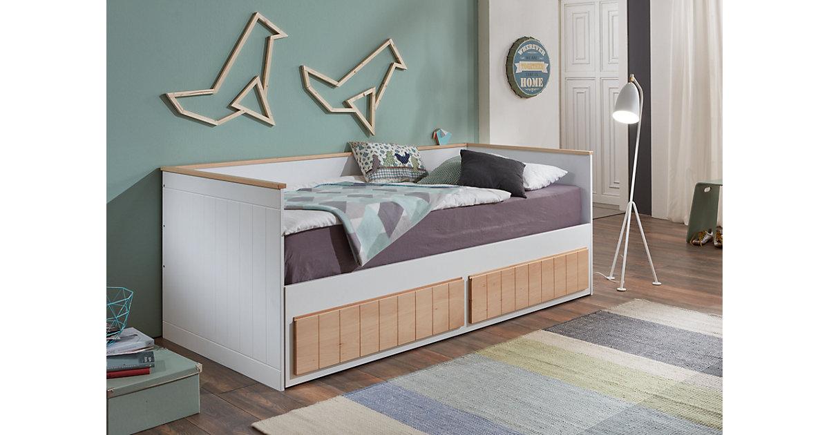 Einzelbett TIMMI inkl. Bettkasten und Rollrost, Buche massiv, bicolor, 90/180 x 200 cm Gr. 90 x 200
