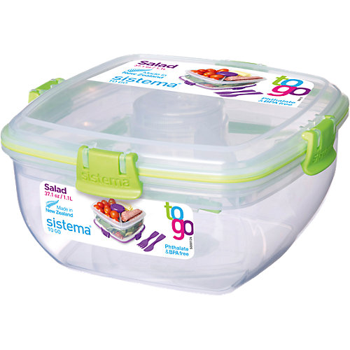 sistema Lunchbox Salat ´´To Go´´ mit Einsätzen Toppings & Dressing + Besteck Erwachsene