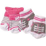 Носочки BABY born, 2 пары, серо-розовые