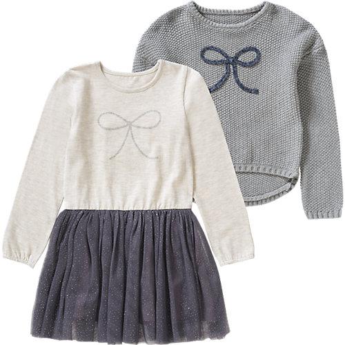 Kinder Set Jerseykleid mit Tüllrock + Pullover Gr. 98/104 Mädchen Kleinkinder | 03611652014825
