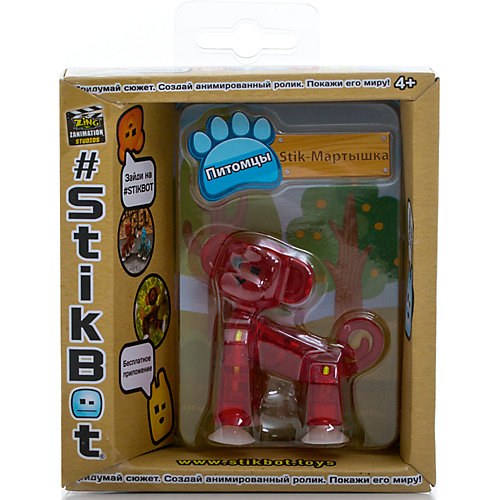 Фигурка питомца Мартышка, красная, Stikbot от Zing