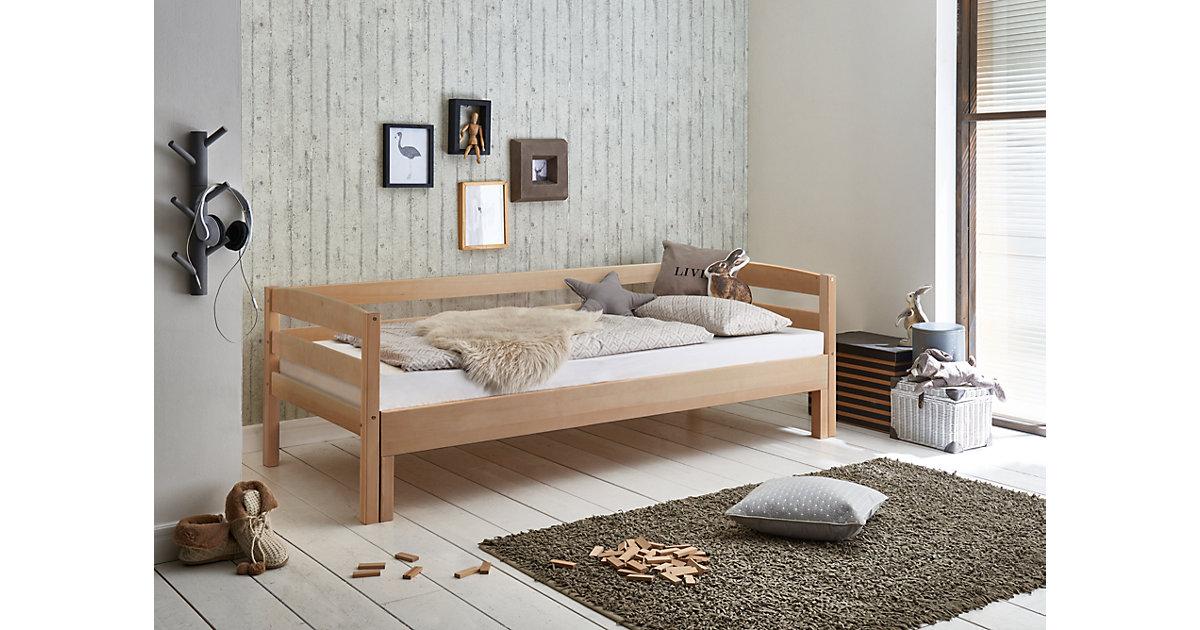 Einzelbett EMILIA, Buche massiv, natur lackiert, 90/180 x 200 cm Gr. 90 x 200