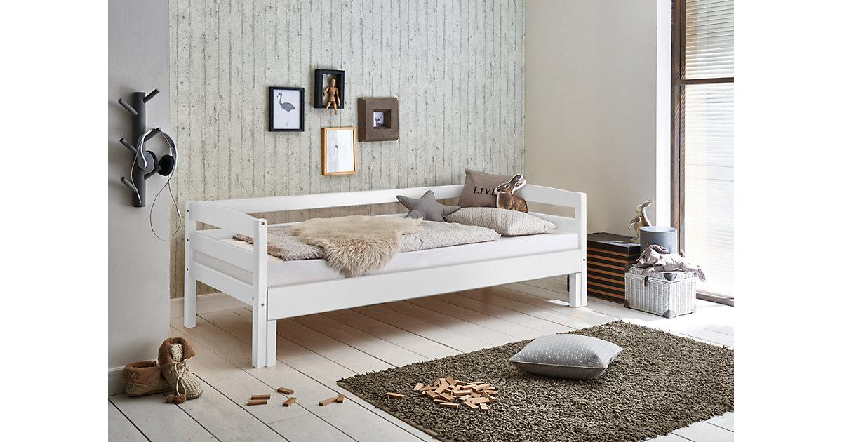 Einzelbett EMELIE, Buche massiv, weiß lackiert, 90/180 x 200 cm Gr. 90 x 200