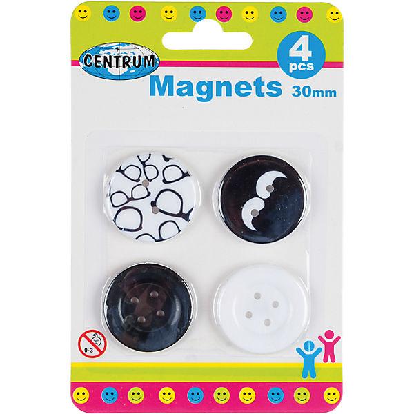 Centrum Набор магнитов для досок, 4 штуки, круглые, диаметр 30 мм.