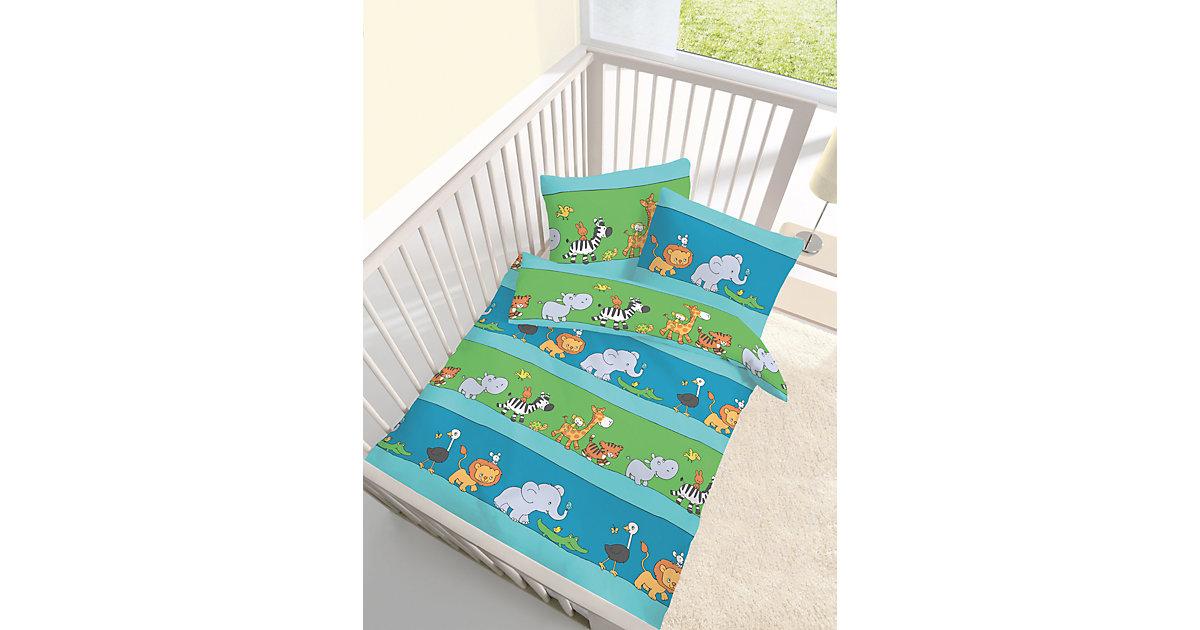 Kinderbettwäsche Wildtiere, Renforcé, 100 x 135 cm blau | Kinderzimmer > Textilien für Kinder > Kinderbettwäsche | Dobnig