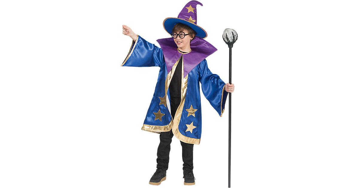Kostüm Magier, 2-tlg. blau/lila Gr. 116 Jungen Kinder