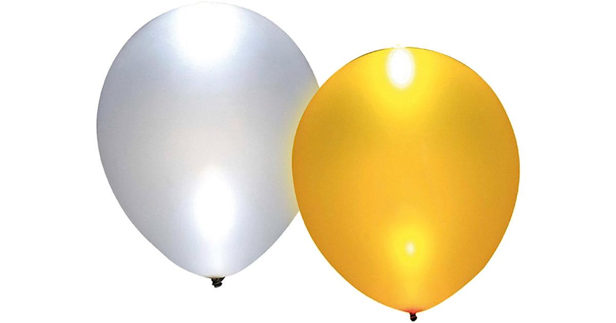 LED Luftballons gold/silber, 5 Stück