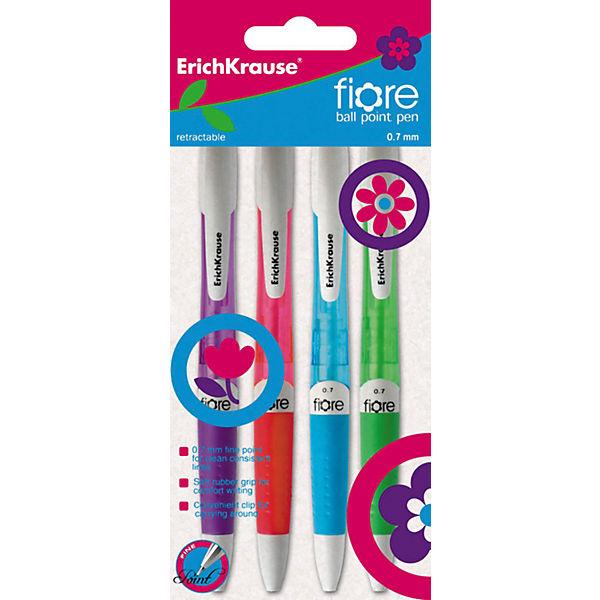 Erich Krause Ручка шариковые автоматическая  0,7 мм FIORE в наборе из 4 штук синие чернила