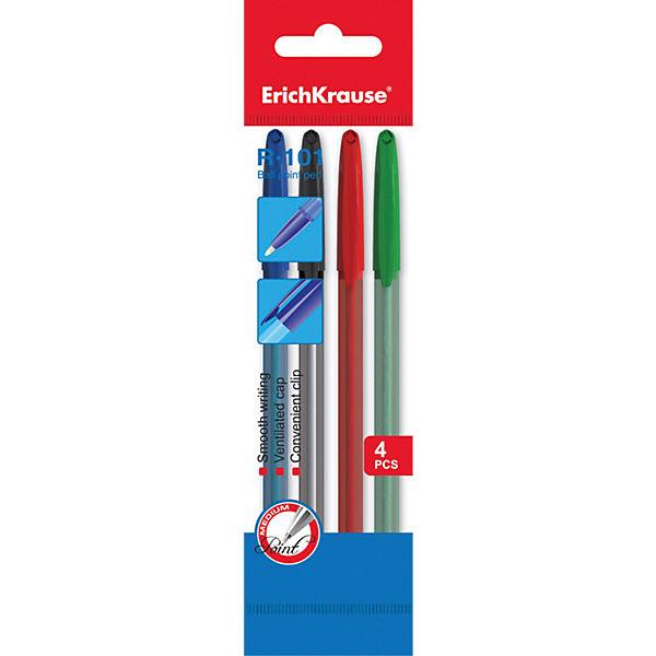 Erich Krause Ручка шариковая R-101 в наборе из 4 штук (пакет, 2 синие,красная,зеленая)