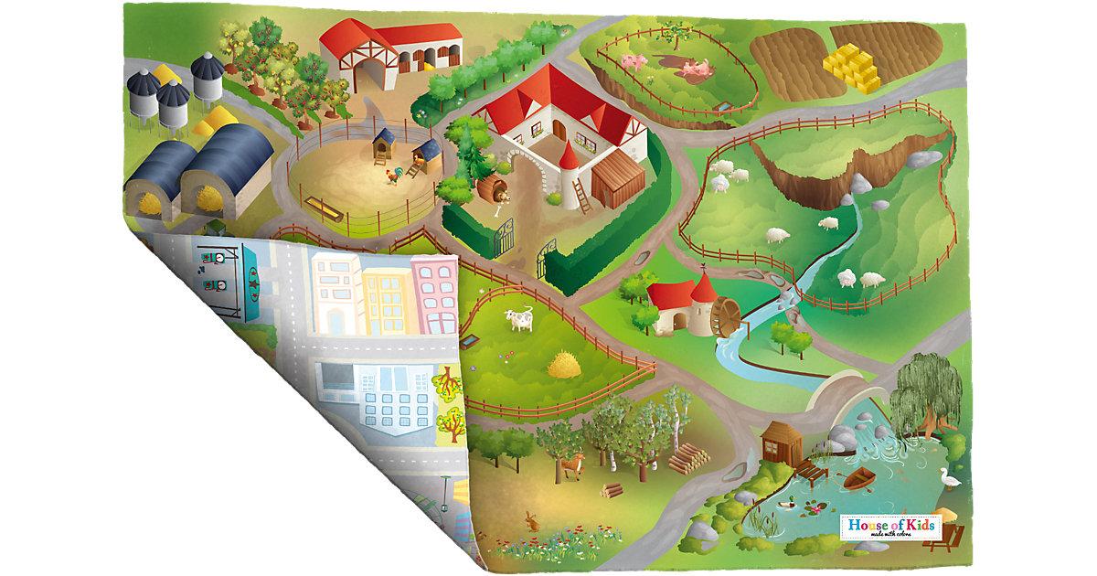 Wende-Spielteppich Bauernhof/Straßenverkehr, 100x150 cm grün Gr. 100 x 150 | Kinderzimmer > Textilien für Kinder > Kinderteppiche | ACHOKA®