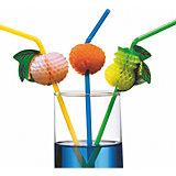 """Трубочки для коктейля """"Фрукты"""", 24 см, 10 шт"""