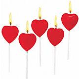 """Свечи для торта """"Сердца"""", 5 шт. парафин"""