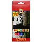 KOH-I-NOOR Набор карандашей цветных ЖИВОТНЫЕ, 12 цв