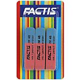 FACTIS Ластики комбинированные, для грифеля и чернил, из натурального каучука, 3 шт