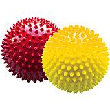 Набор мячей ёжиков, красный и желтый, 12 см, МалышОК