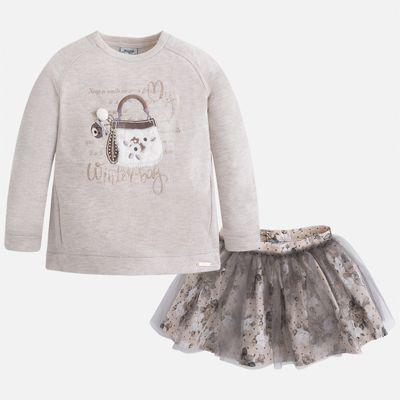 Комплект: блузка и юбка для девочки Mayoral - серый
