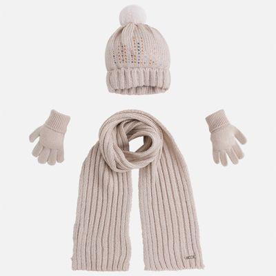 Комплект: шапка, шарф и перчатки для девочки Mayoral - бежевый
