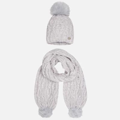 Комплект: шапка и шарф Mayoral для девочки - серый
