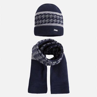 Комплект: шапка и шарф Mayoral для мальчика - сине-серый