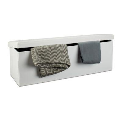 Faltbare Sitzbank aus Kunstleder weiß